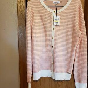 Calvin Klein Pink and White Stripe Cardigan
